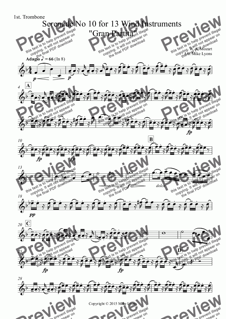 "page one of the 1st. Trombone part from Brass Band - Adagio from Mozart's Serenade No. 10 for 13 Wind Instruments ""Gran Partita"""