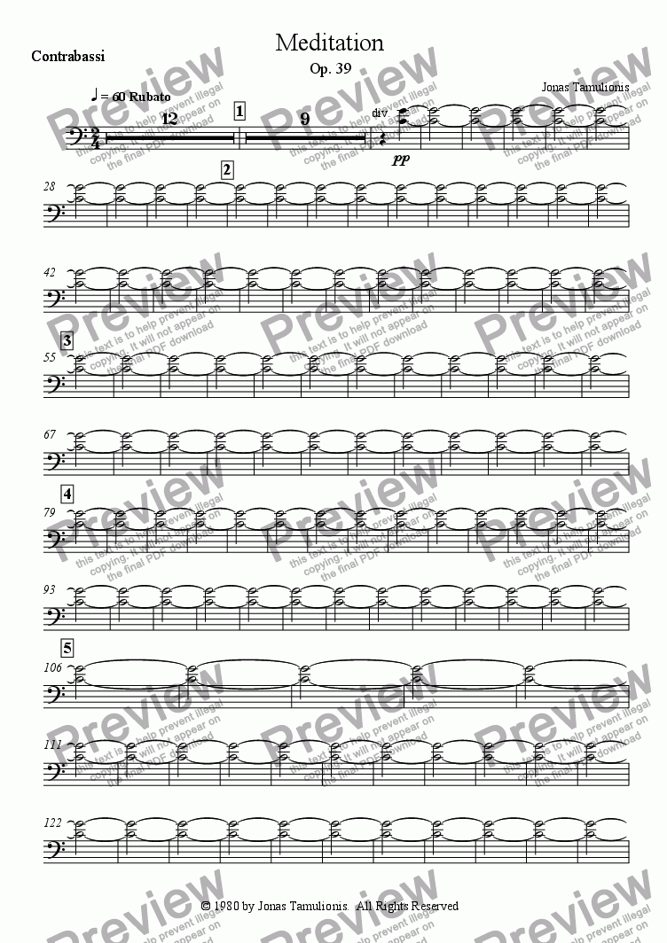 page one of the Contrabassi part from Meditation
