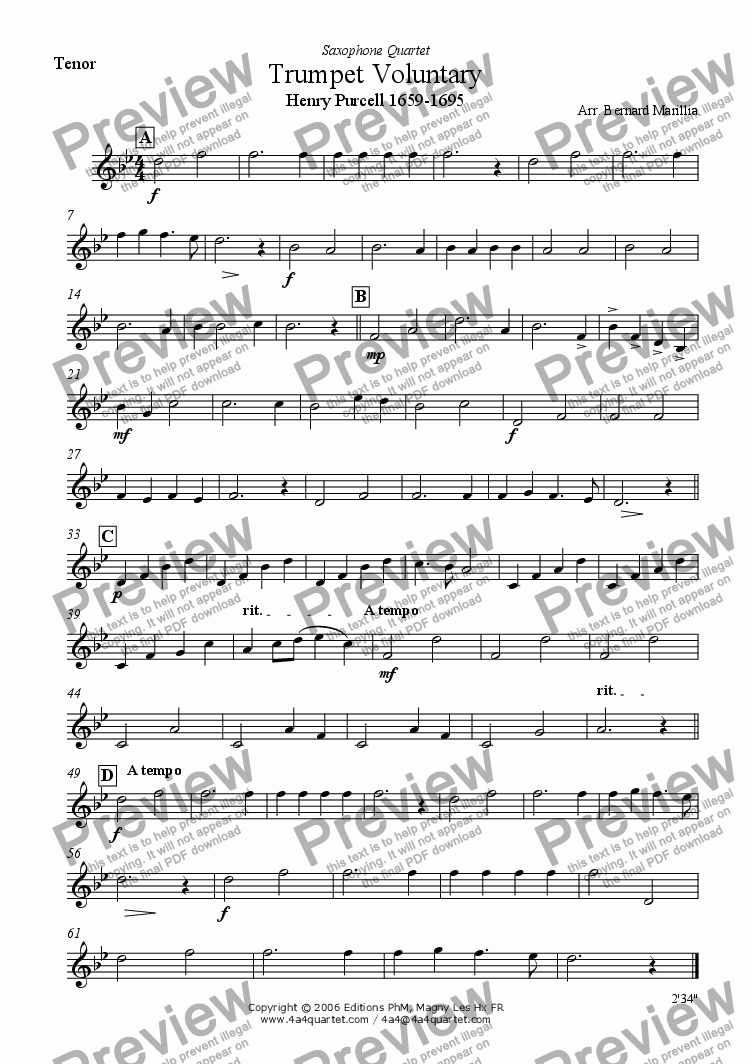 page one of the Tenor Sax part from Purcell - Trumpet Voluntary (Sax Quartet)