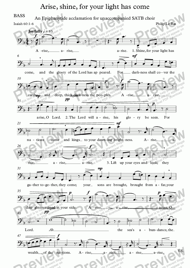 page one of the BASS part from Arise, shine, for your light has come