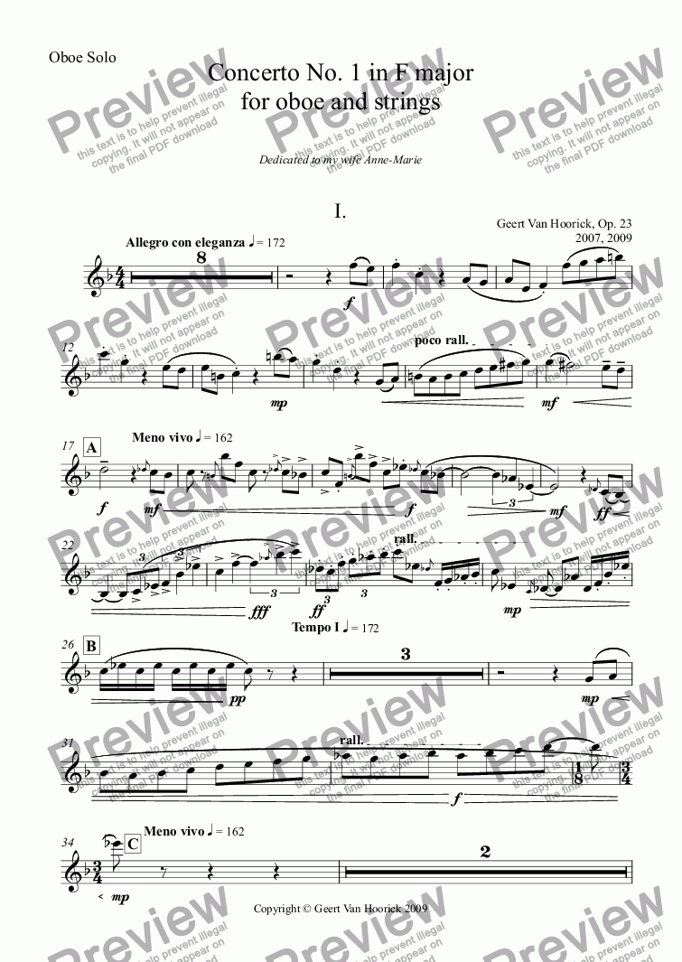 page one of the Oboe Solo part from Concerto No. 1 in F major for oboe and strings, Op. 23 - I. Allegro con eleganza