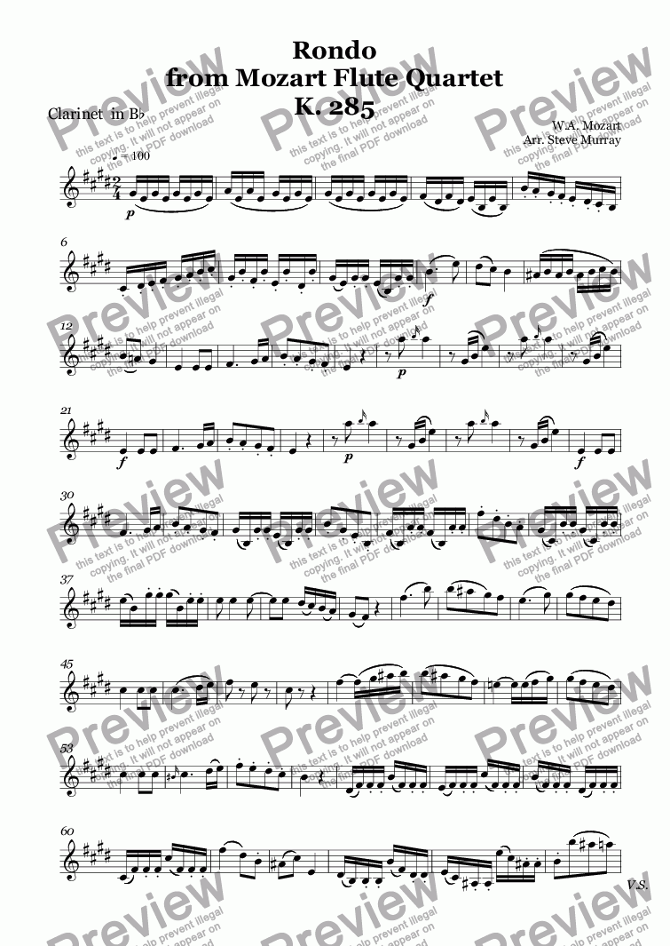 page one of the Clarinet  in B^b part from Rondo  from Mozart Flute Quartet K. 285