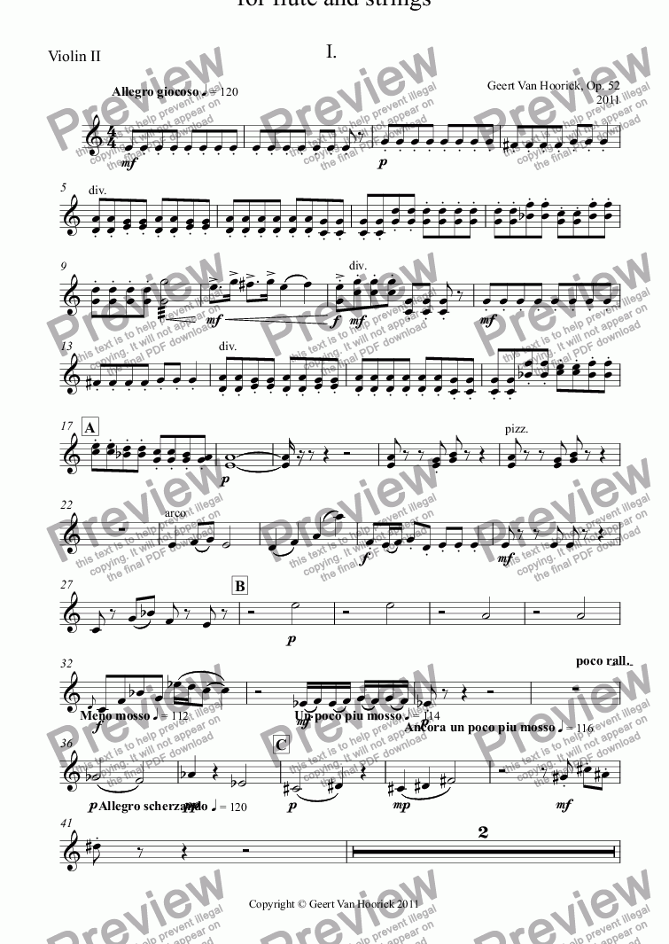 page one of the Violin II part from Concerto No. 1  for flute and strings, Op. 52 - I. Allegro giocoso