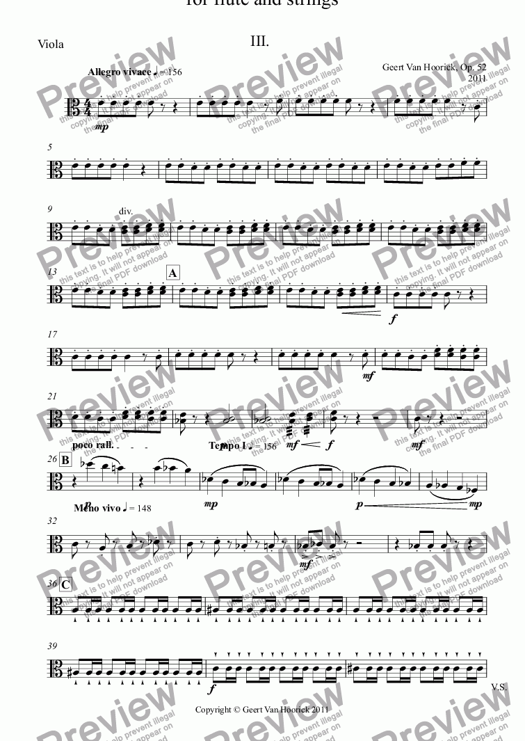page one of the Viola part from Concerto No. 1  for flute and strings, Op. 52 - III Allegro vivace