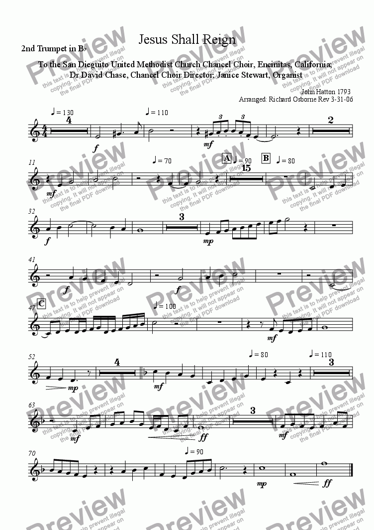 page one of the 2nd Trumpet part from Jesus Shall Reign (Transposed for Brass Quintet)