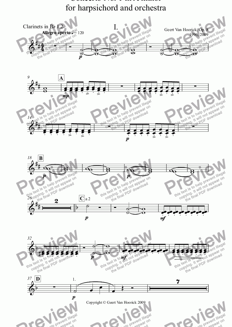 page one of the Clarinets in B^b 1.2^. part from Concerto No. 1 in A minor for harpsichord and orchestra, Op. 8 - I. Allegro aperto