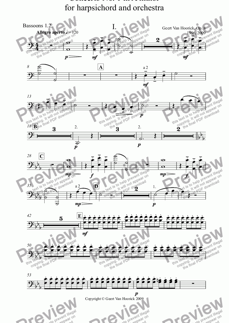 page one of the Bassoons 1.2. part from Concerto No. 1 in A minor for harpsichord and orchestra, Op. 8 - I. Allegro aperto