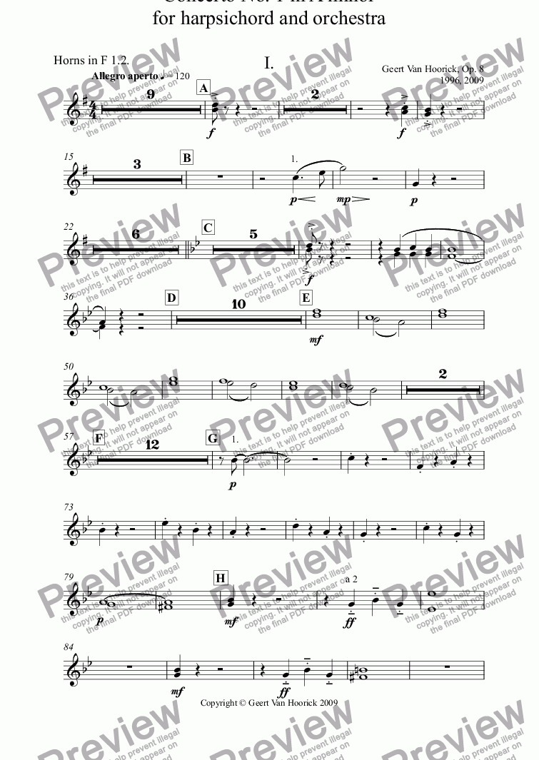 page one of the Horns in F 1.2. part from Concerto No. 1 in A minor for harpsichord and orchestra, Op. 8 - I. Allegro aperto