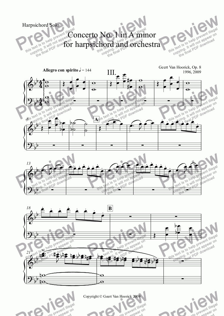 page one of the Harpsichord Solo part from Concerto No. 1 in A minor for harpsichord and orchestra, Op. 8 - III. Allegro con spirito