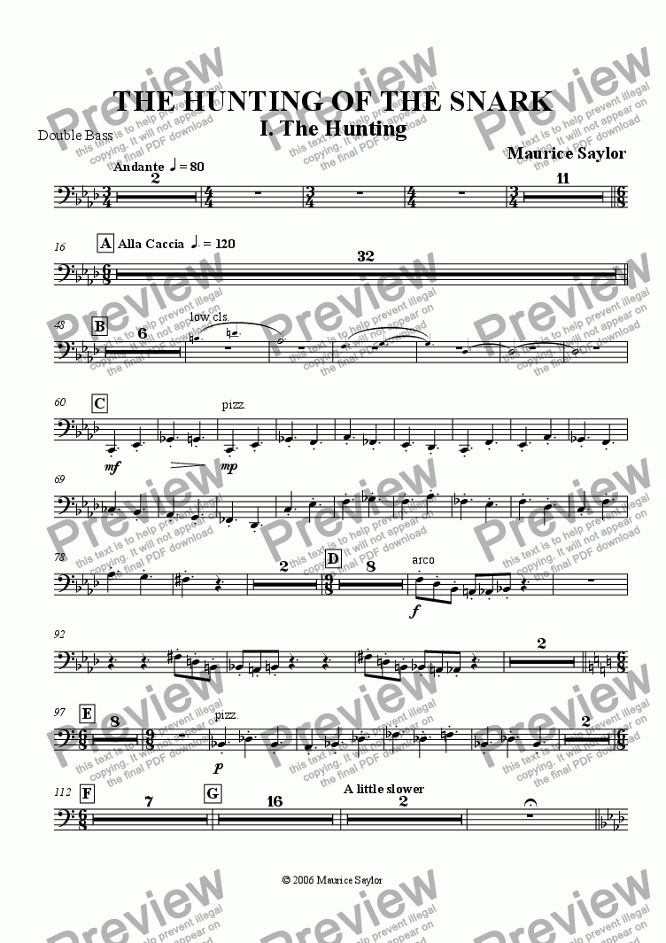 "page one of the String Bass (optional) part from Two Fits from ""The Hunting of the Snark"""