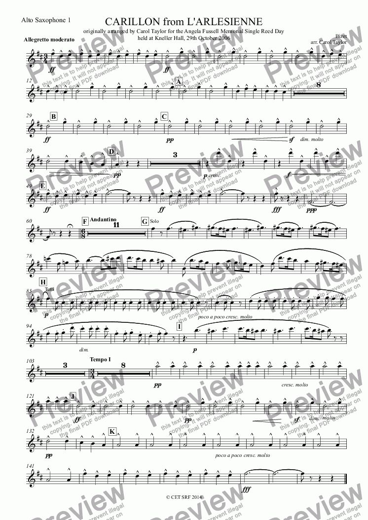 page one of the Alto Saxophone 1 part from CARILLON from L'ARLESIENNE originally arranged by Carol Taylor for the Angela Fussell Memorial Single Reed Day held at Kneller Hall, 29th October 2006