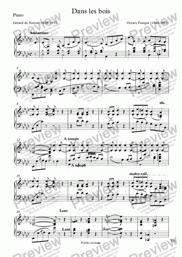 page one of the Piano part from Dans les bois (Octave Fouque / Nerval)