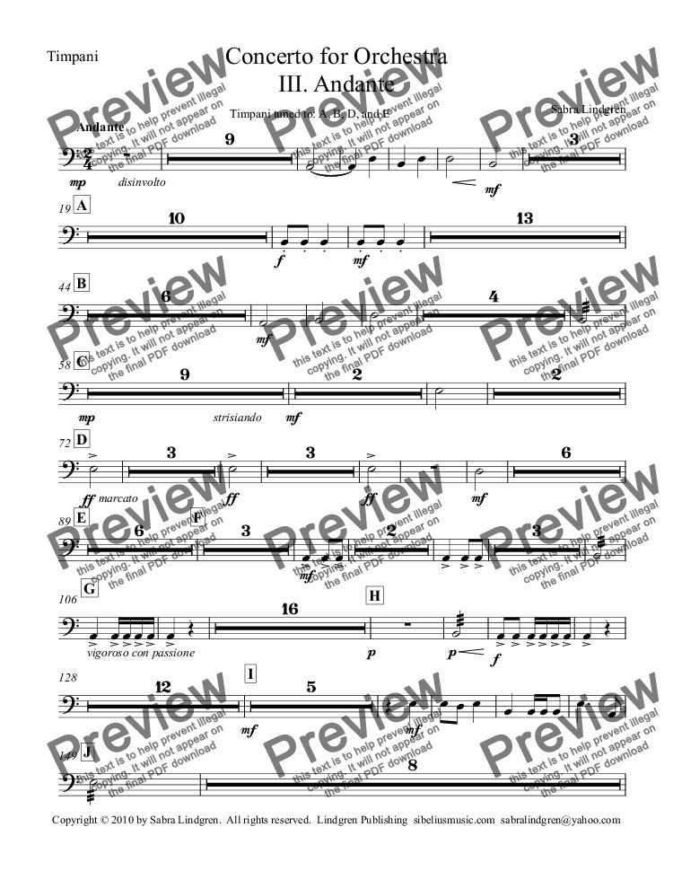 page one of the Timpani part from Concerto for Orchestra III. Andante