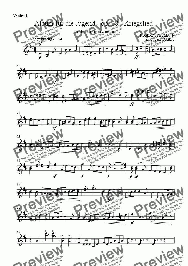 page one of the Violin I part from Album für die Jugend - op. 68 - Kriegslied - arr. for string orchestra