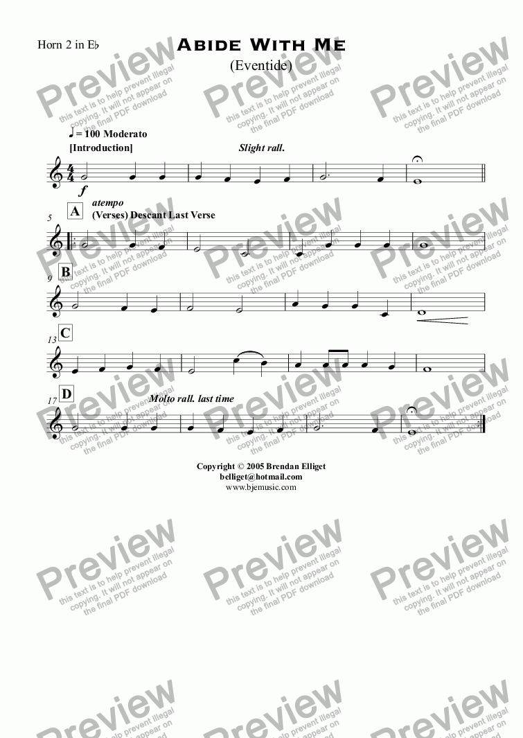 page one of the Horn 2 in E^b part from Abide With Me (Eventide) - Concert Band with optional Strings