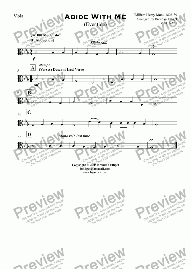 page one of the Viola part from Abide With Me (Eventide) - Concert Band with optional Strings