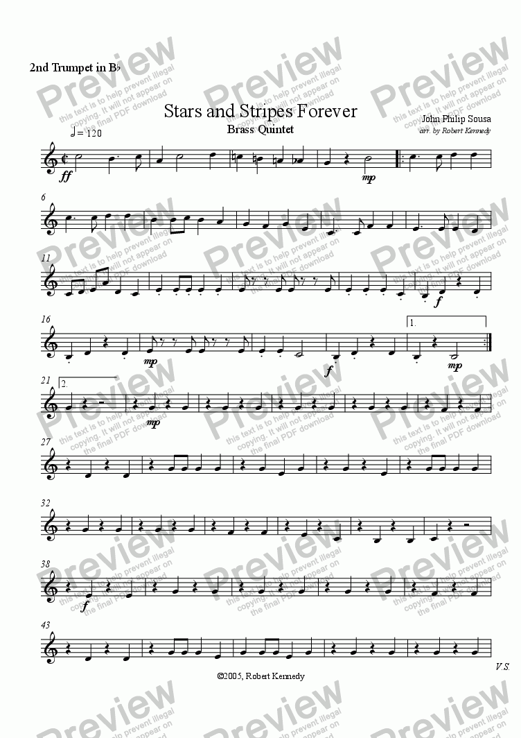 page one of the 2nd Trumpet part from Stars and Stripes Forever  -  Brass Quintet