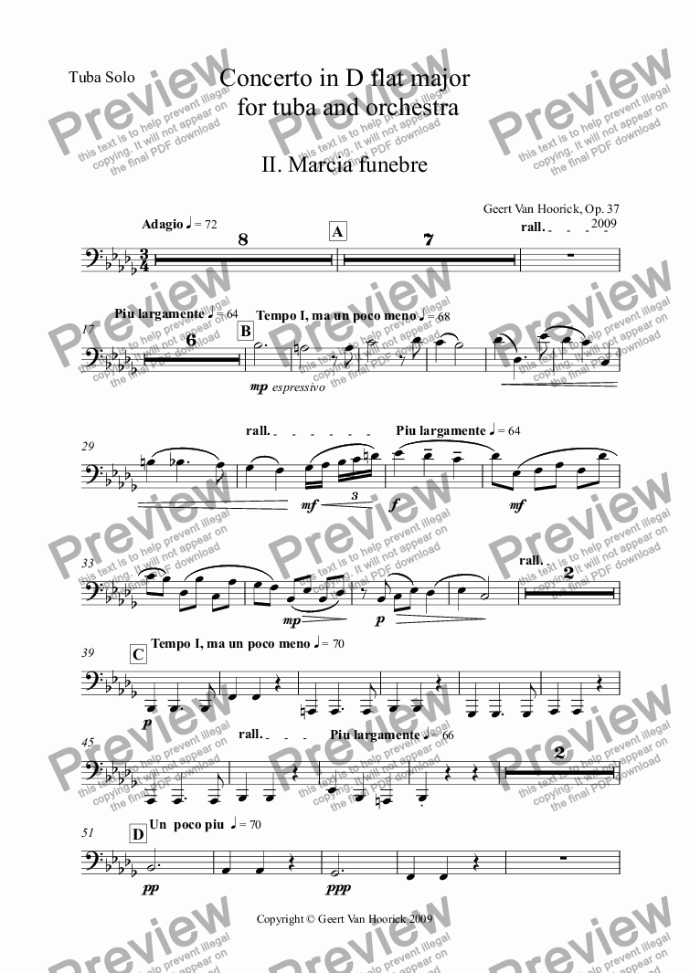 page one of the Tuba Solo part from Concerto in D flat major for tuba and orchestra (piano version), Op. 37a - II. Marcia funebre