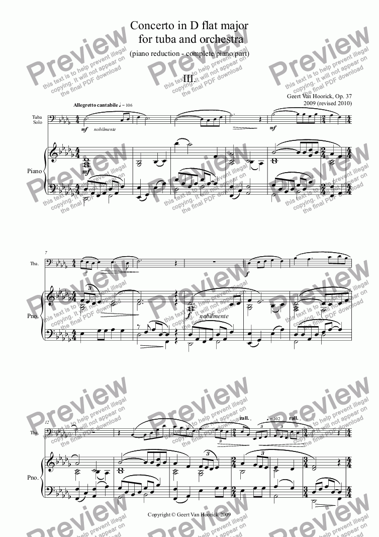 page one of the Piano part from Concerto in D flat major for tuba and orchestra (piano version), Op. 37a - III. Allegretto cantabile