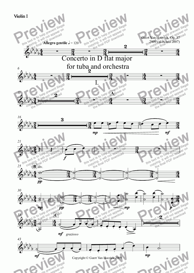 page one of the Violin I part from Concerto in D flat major for tuba and orchestra, Op. 37 - I. Allegro gentile