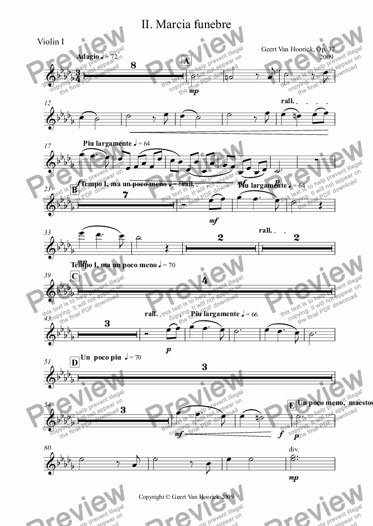 page one of the Violin I part from Concerto in D flat major for tuba and orchestra, Op. 37 - II. Marcia funebre