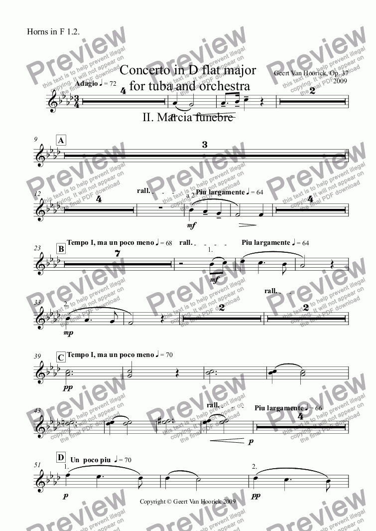 page one of the Horns in F 1.2. part from Concerto in D flat major for tuba and orchestra, Op. 37 - II. Marcia funebre