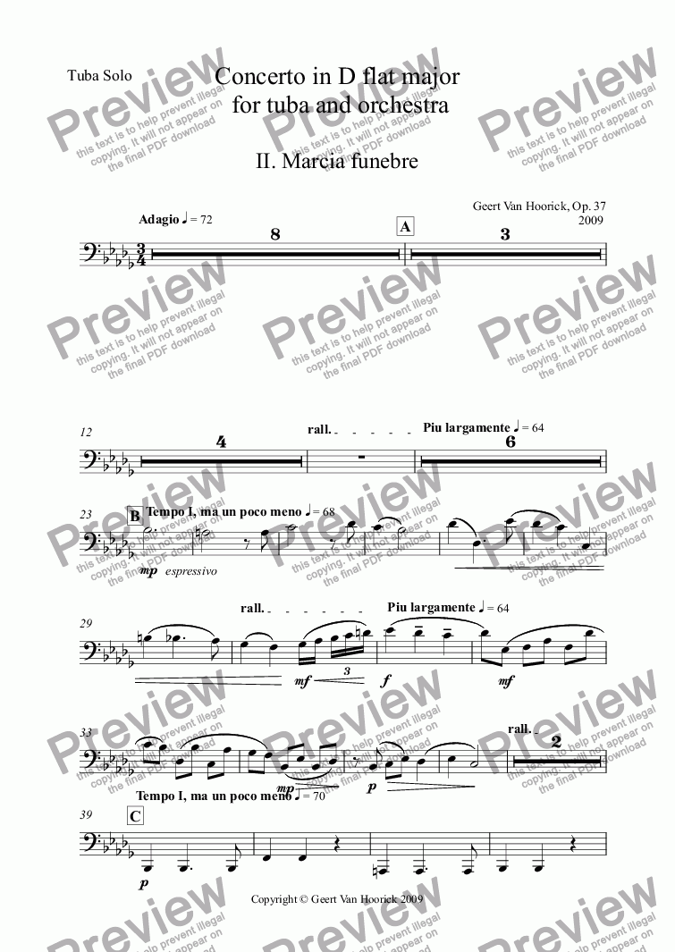 page one of the Tuba Solo part from Concerto in D flat major for tuba and orchestra, Op. 37 - II. Marcia funebre