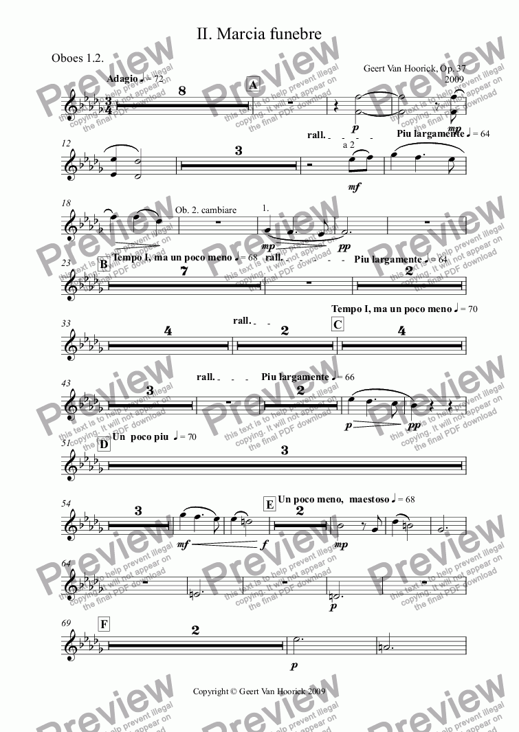 page one of the Oboes 1.2. part from Concerto in D flat major for tuba and orchestra, Op. 37 - II. Marcia funebre
