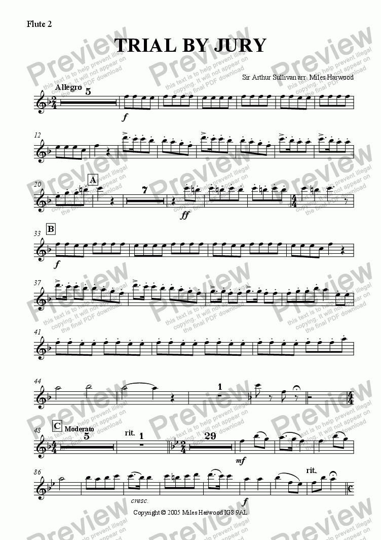 page one of the Flute 2 part from Trial by Jury