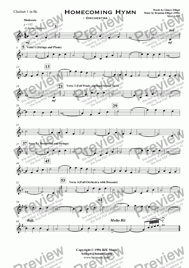 page one of the Clarinet 1 in B^b part from Homecoming Hymn - Orchestra with Solo Voice
