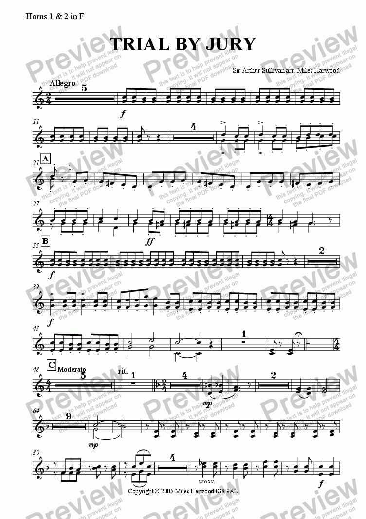 page one of the Horns in F part from Trial by Jury
