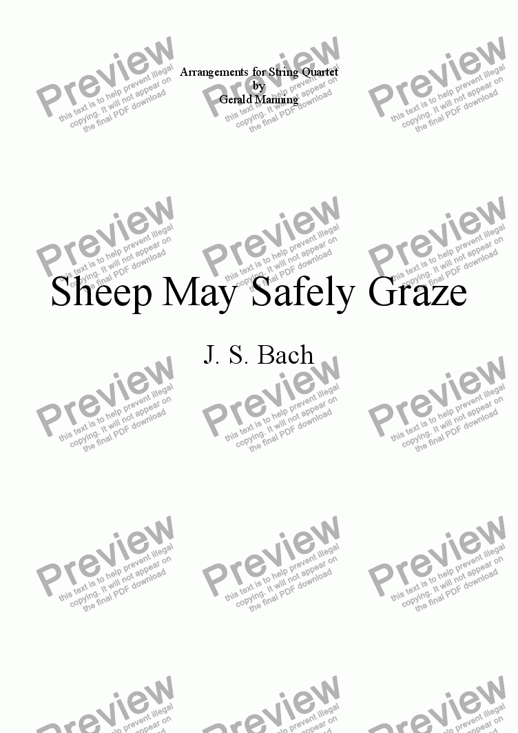 page one of the Violoncello part from BACH, J.S. - Sheep May Safely Graze - arr. for String Quartet by Gerald Manning