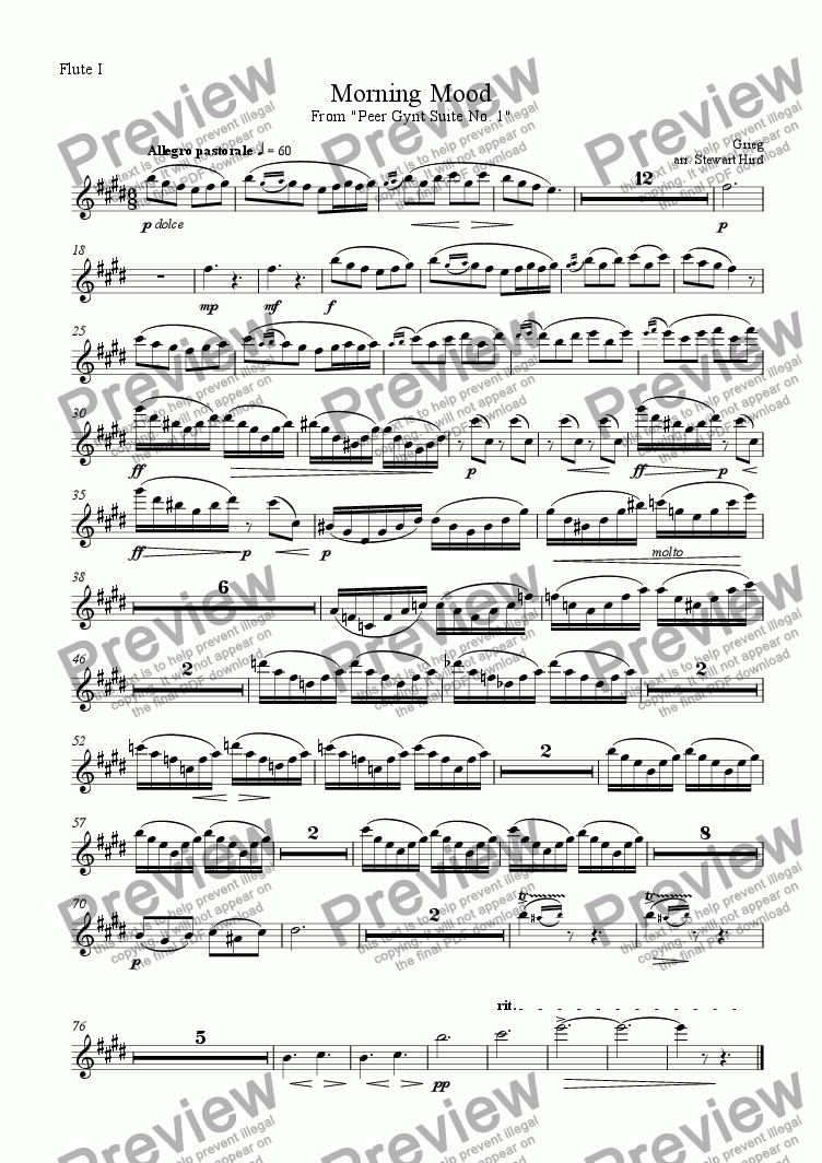 page one of the Flute I part from Morning Mood from the Peer Gynt Suite