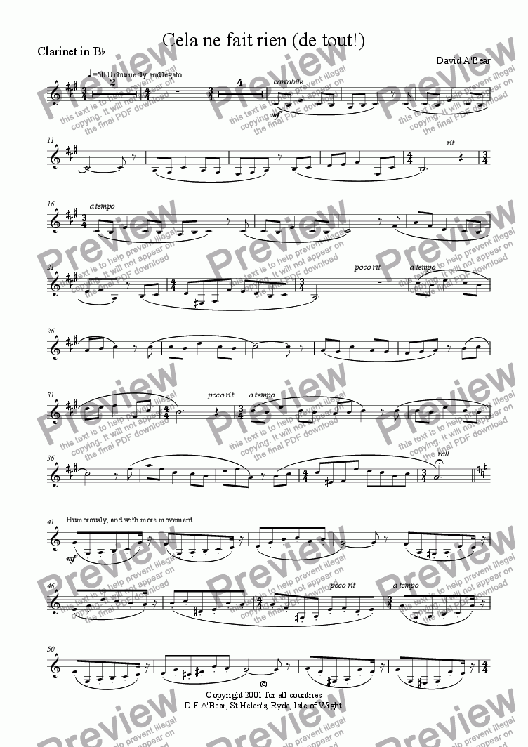 page one of the Clarinet in Bb part from Cela ne fait rien (de tout!)