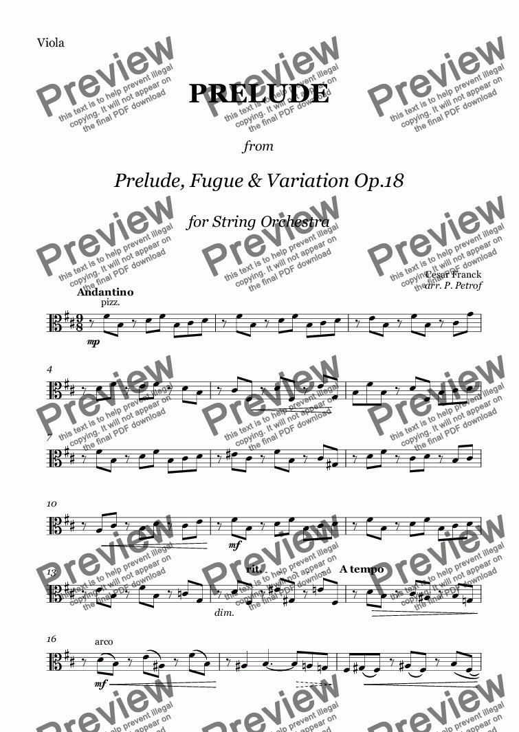 "page one of the Viola part from C. Franck - PRELUDE  from  ""Prelude, Fugue & Variation"" Op.18 for String Orchestra"