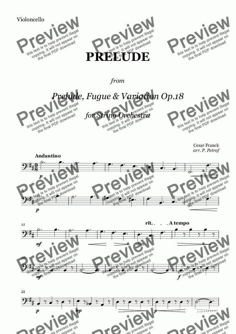 "page one of the Violoncello part from C. Franck - PRELUDE  from  ""Prelude, Fugue & Variation"" Op.18 for String Orchestra"