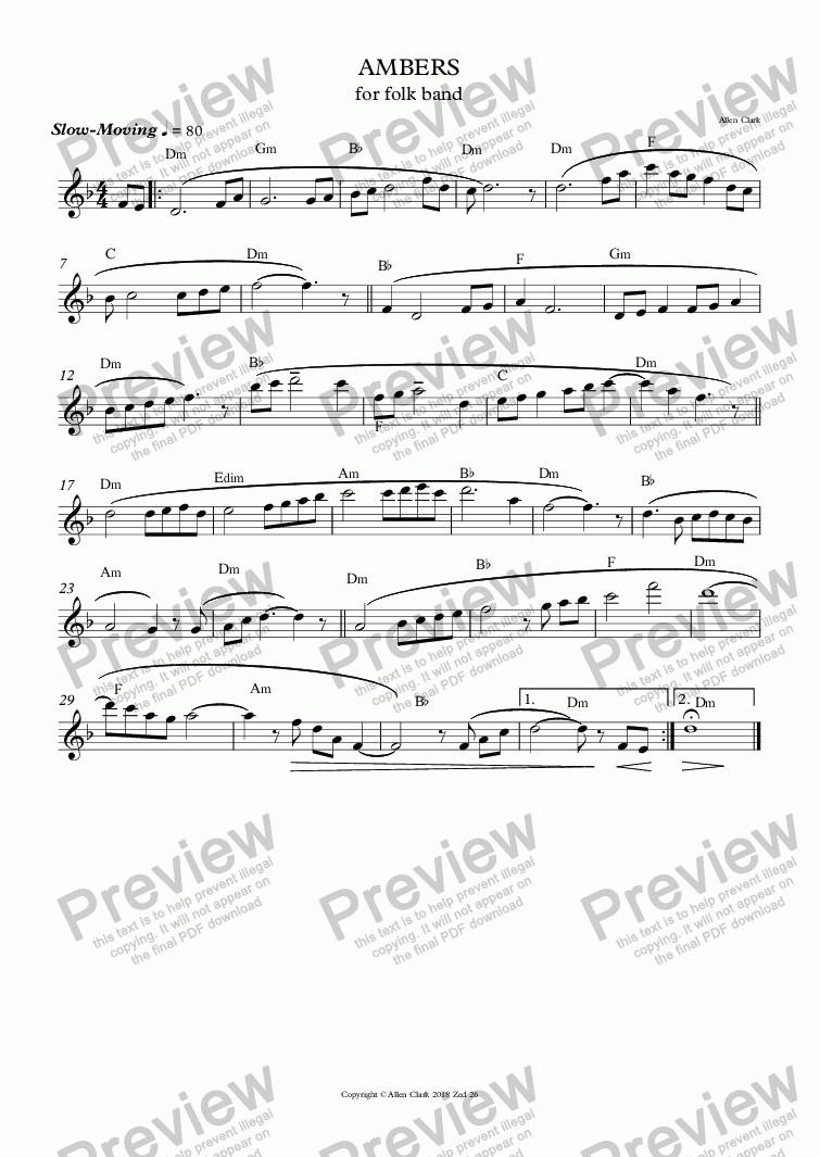 page one of the Flute part from AMBERS