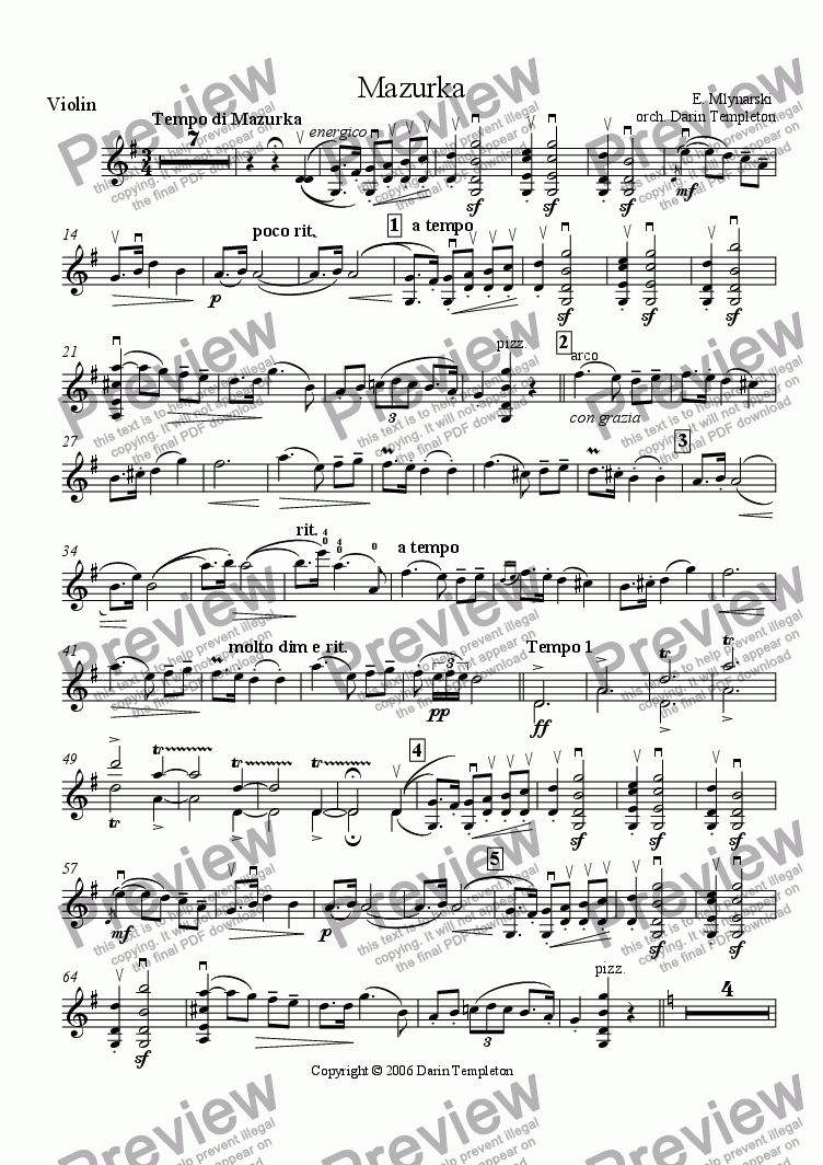 page one of the Solo Violin part from Mlynarski- Mazurka