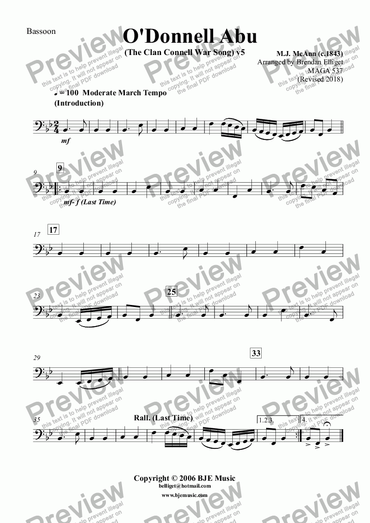 page one of the Bassoon part from O'Donnell Abu (The Clan Connell War Song) - Concert Band