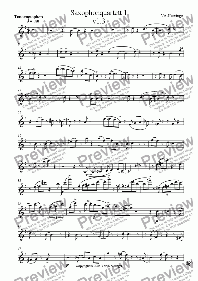 page one of the tenor saxophone part from Saxophone quartet 1