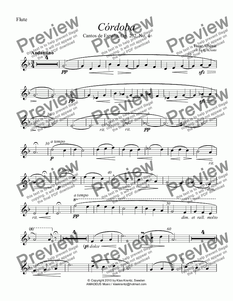 page one of the Flute part from Cordoba from Cantos de España Op. 232 for flute and guitar