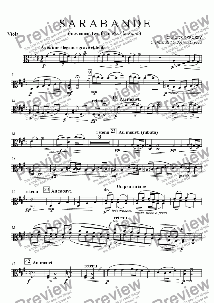 page one of the Viola part from Sarabande (from Pour le Piano)