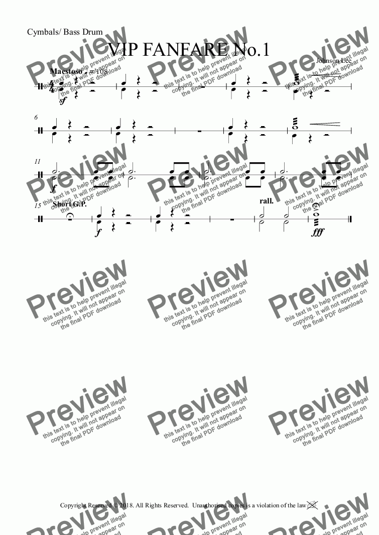 page one of the Cymbals/ Bass Drum part from VIP FANFARE No.1