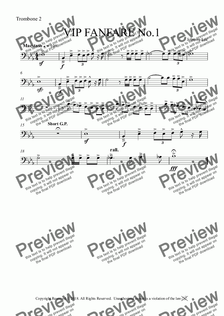 page one of the Trombone 2 part from VIP FANFARE No.1
