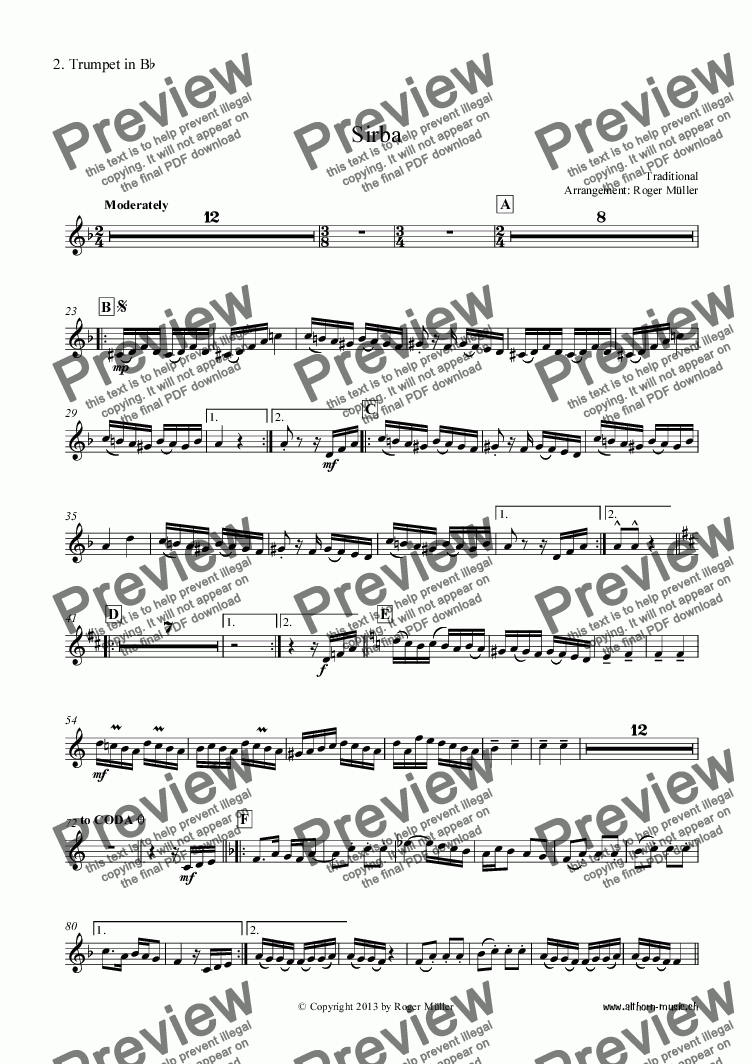 page one of the 02 - 2. Trumpet in Bb part from Sirba
