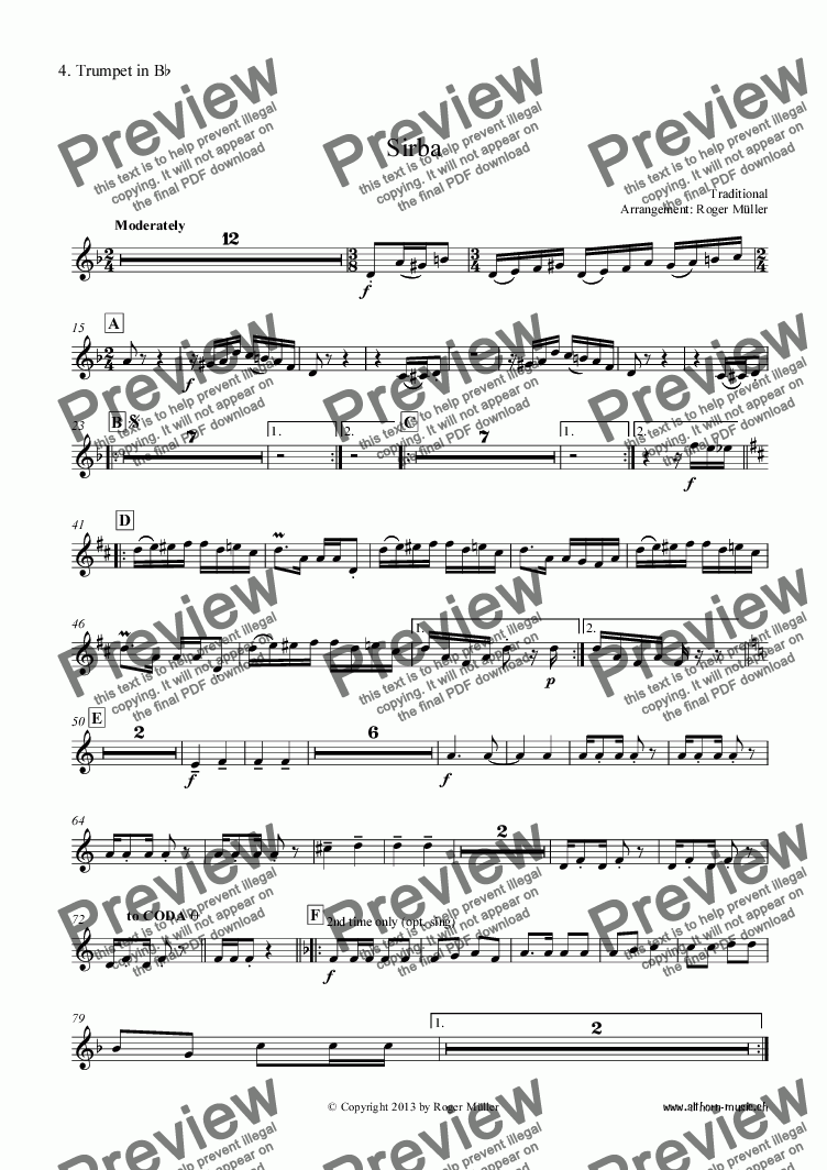 page one of the 04 - 4. Trumpet in Bb part from Sirba
