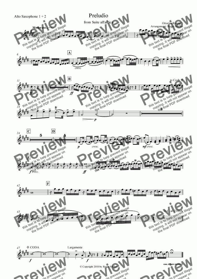 page one of the Alto Saxophone 2 part from Preludio