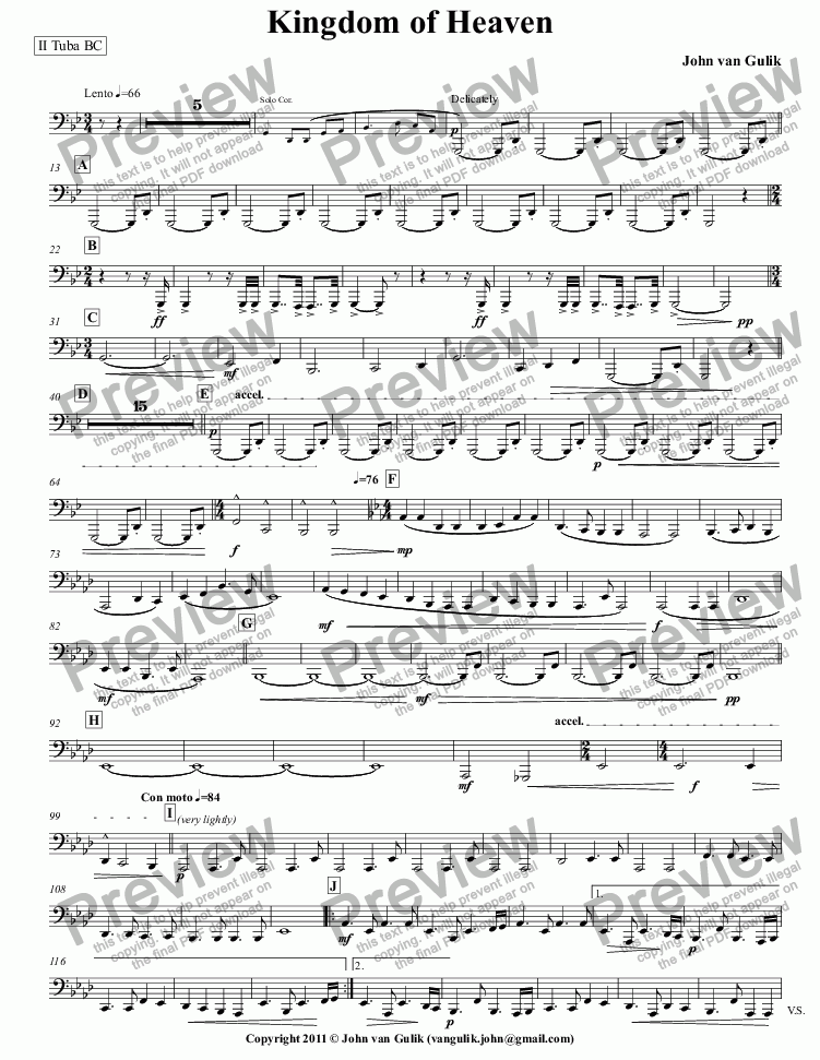 page one of the II Tuba BC part from Kingdom of Heaven - Brass Band