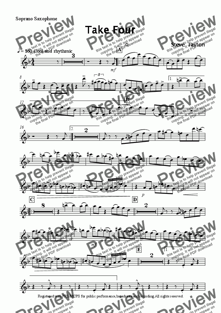 page one of the Soprano sax part from Take Four! sax quartet