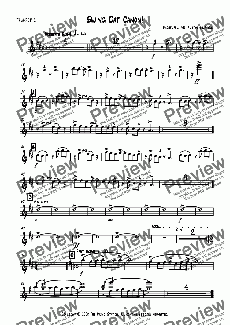 page one of the Trumpet 1 part from Swing Dat Canon! - big band